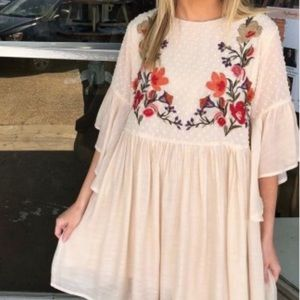Umgee USA Cream Embroidered Bell Sleeves Dress
